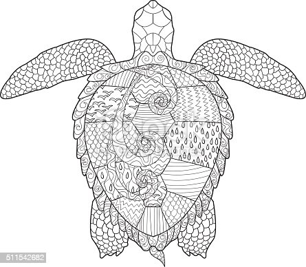 antistress coloring page with turtle stock vector