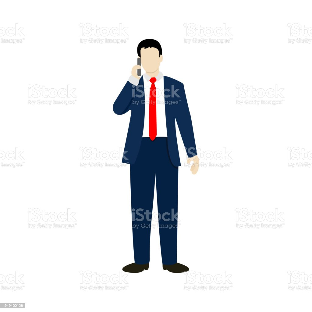 Adult Businessman Phone Calling People Illustration vector art illustration