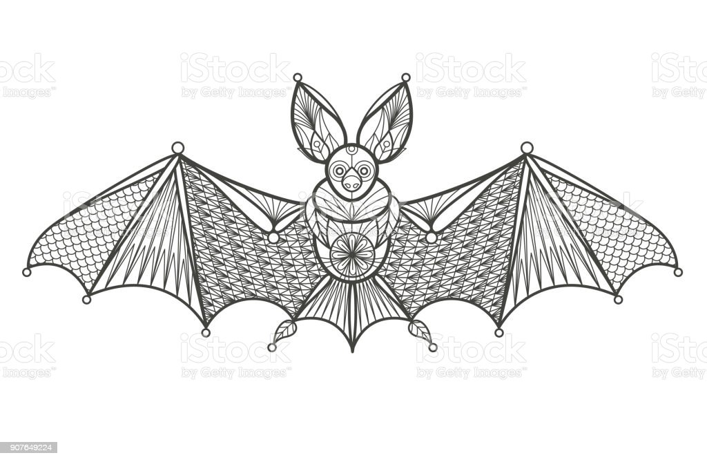 Adultos Para Colorear Bat Illustracion Libre de Derechos 907649224 ...