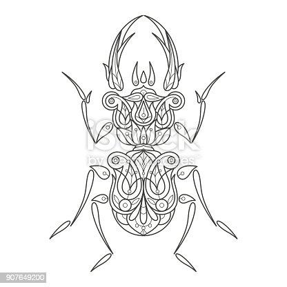 Ilustración de Adultos Para Colorear Escarabajo y más banco de ...