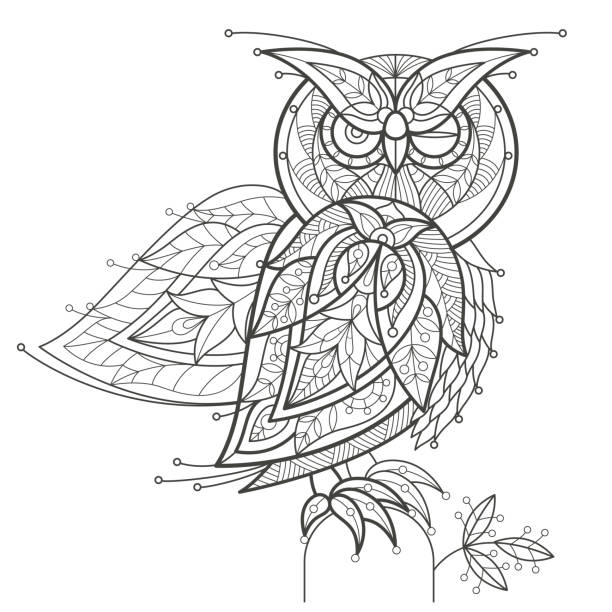 Royalty Free Black And White Owl Tattoos Backgrounds Clip Art
