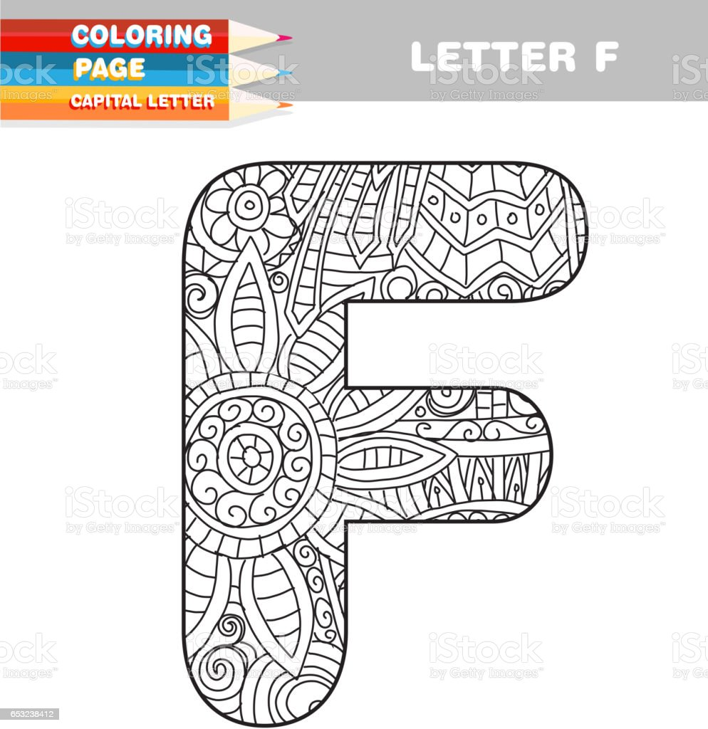 Adultos Para Colorear Libro Mayúsculas Plantilla Dibujada A Mano ...