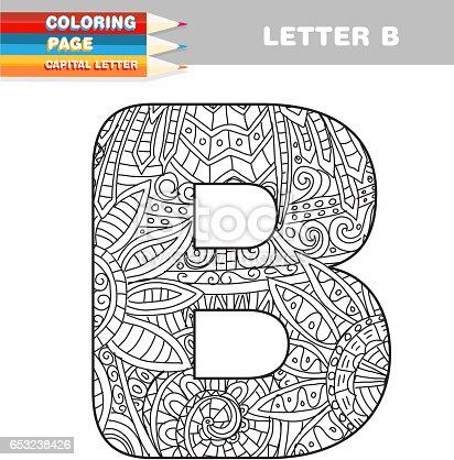 istock Adultos para colorear libro mayúsculas plantilla dibujada a ...