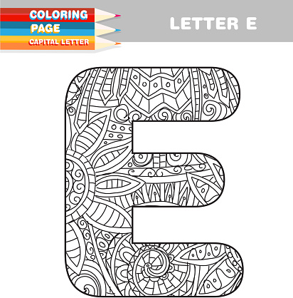 Adult Coloring book capital letters hand drawn template