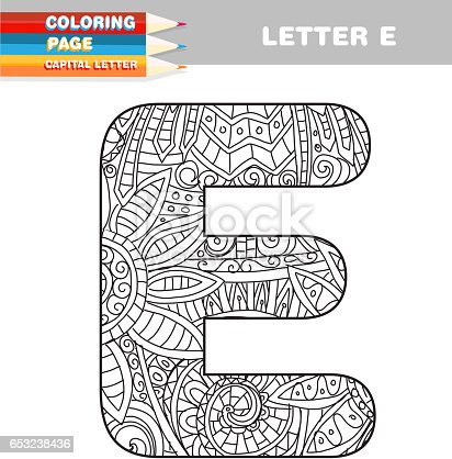 Erwachsenen Färbung Buch Großbuchstaben Hand Gezeichneten Vorlage ...