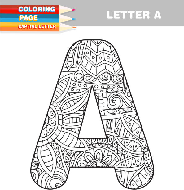 adult coloring book capital letters hand drawn template - coloring book pages templates stock illustrations