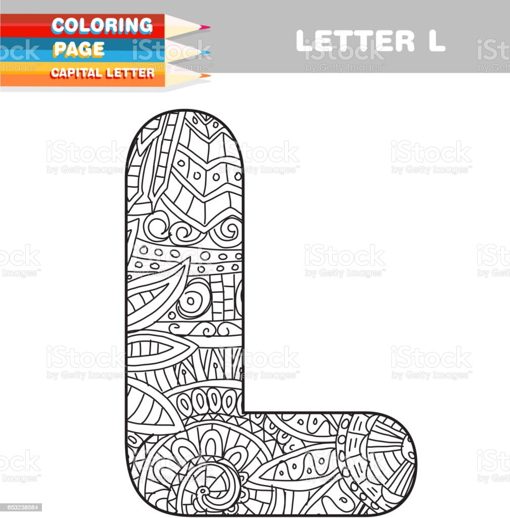 Coloring pages for letter l - Adult Coloring Book Capital Letters Hand Drawn Template Royalty Free Stock Vector Art
