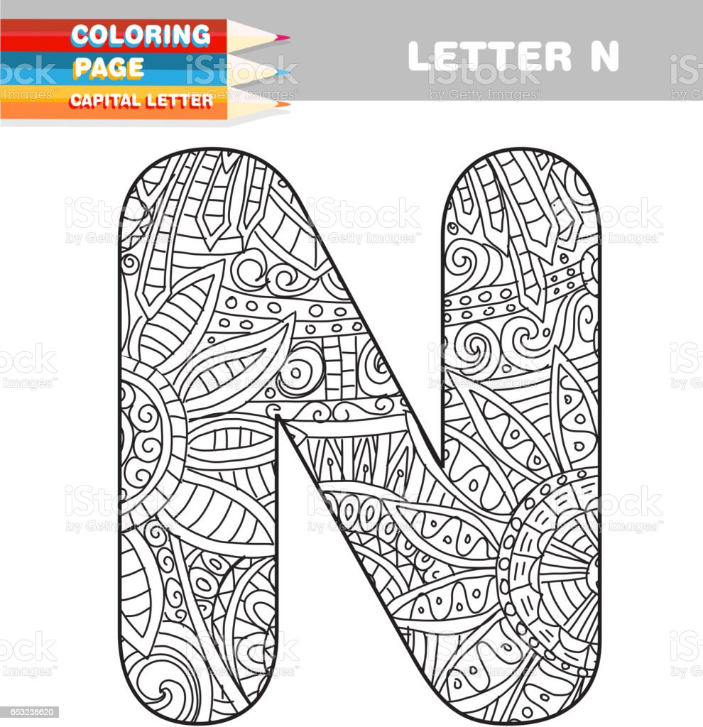 Adult Coloring Book Capital Letters Hand Drawn Template Stock Vector