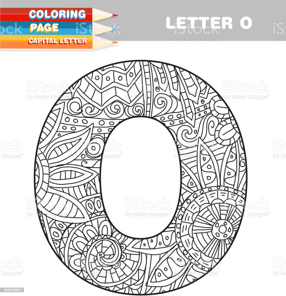 Adult Coloring Book Capital Letters Hand Drawn Template Royalty Free