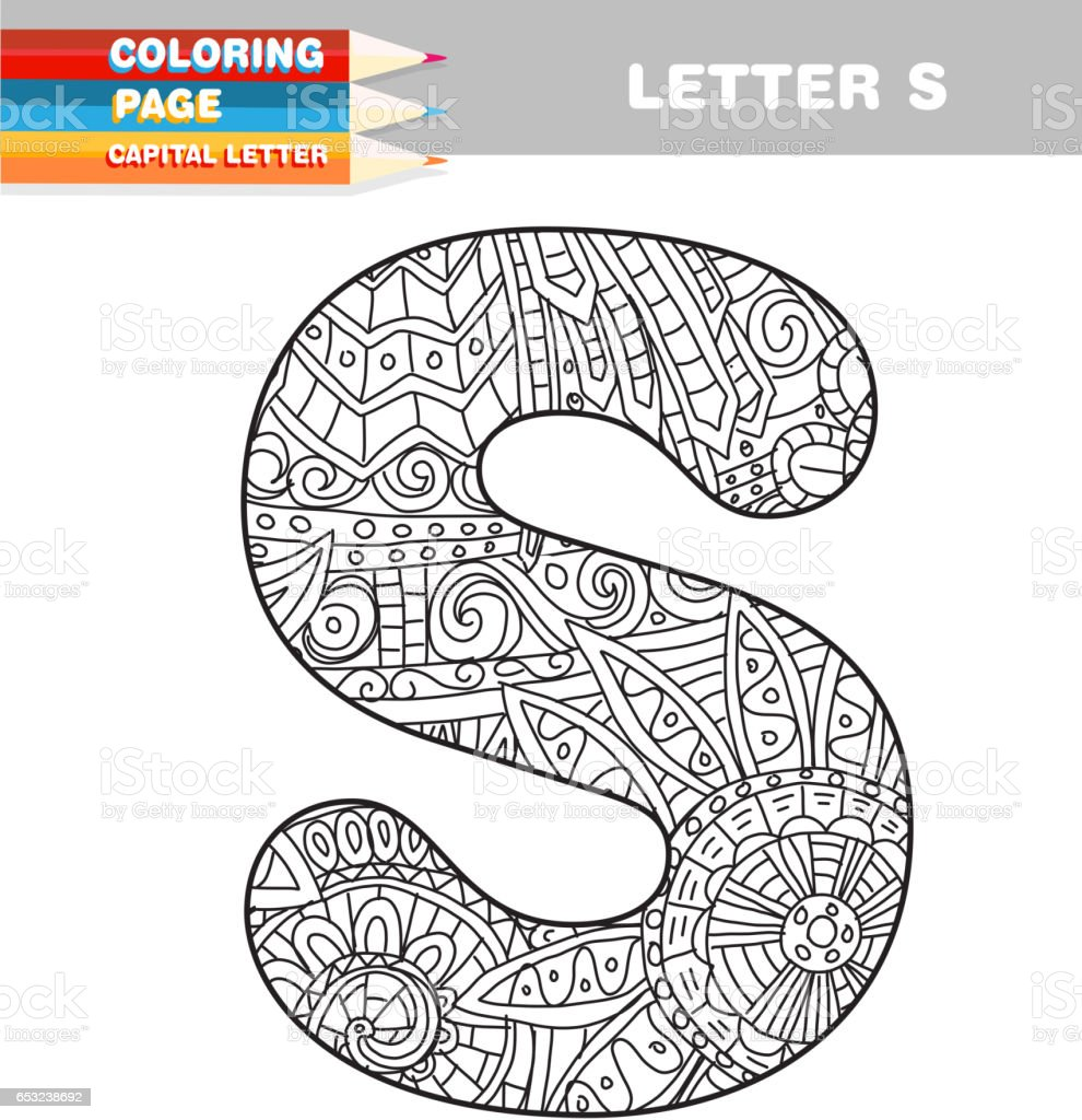 Adult Coloring Book Capital Letters Hand Drawn Template Stock Vector Art Amp More Images Of Adult