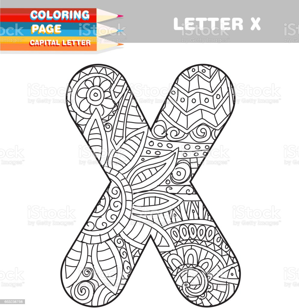 Adult Coloring Book Capital Letters Hand Drawn Template Stock Vector ...