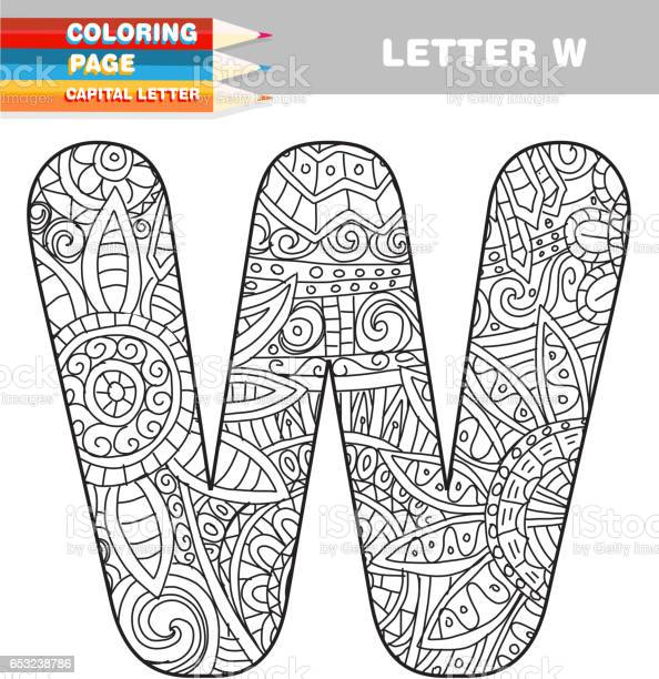 adult coloring book capital letters hand drawn template vector id