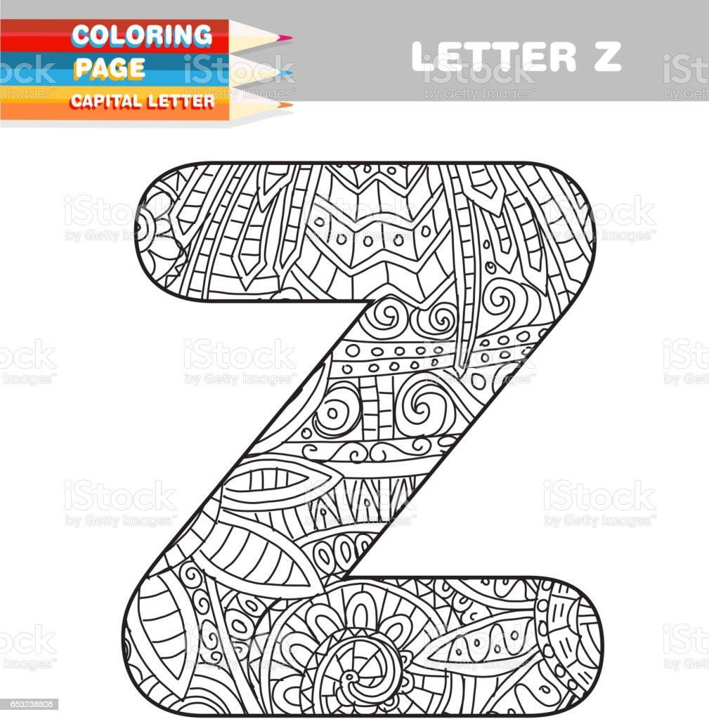 Ilustración de Adultos Para Colorear Libro Mayúsculas Plantilla ...