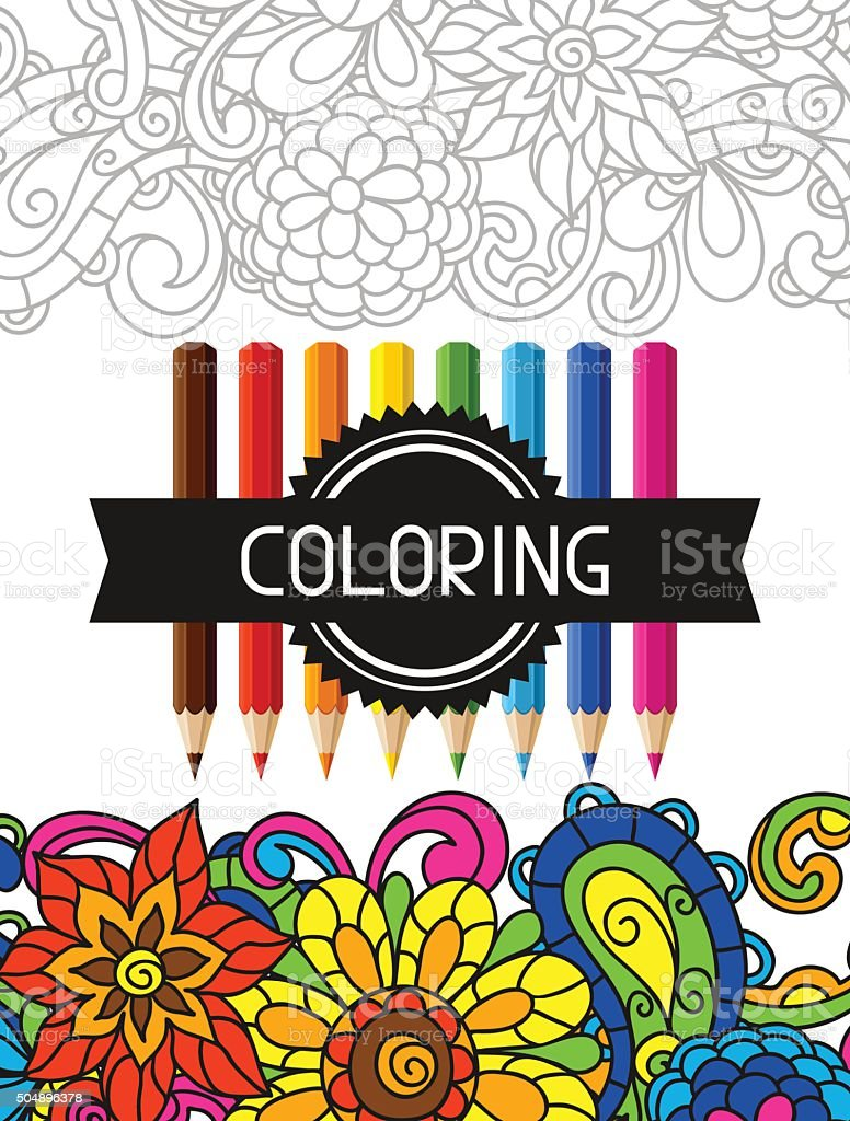 Adult Coloring Book Design For Cover Illustration Of Trend Item Royalty Free
