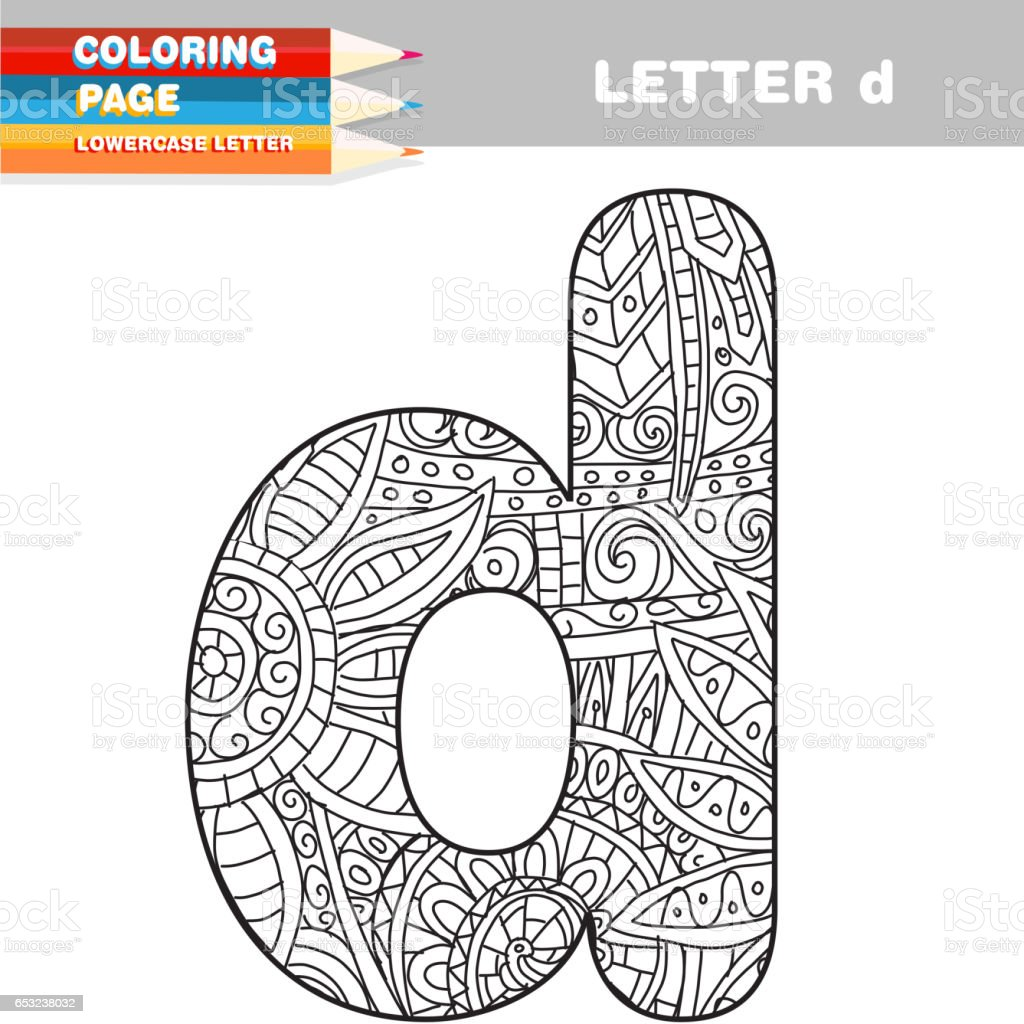 Adult Coloring Book Lower Case Letters Hand Drawn Template Royalty Free