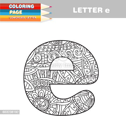Adult Coloring book lower case letters hand drawn template