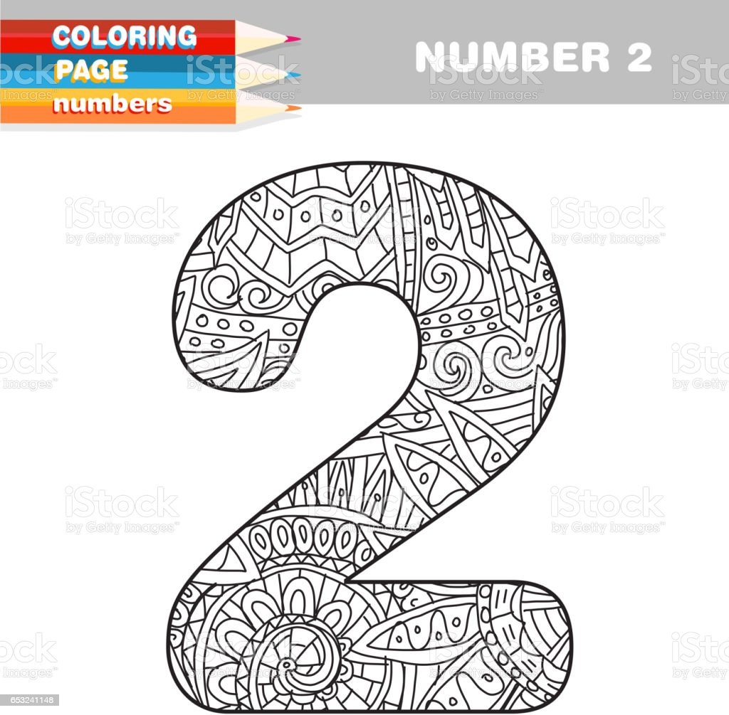 Adult Coloring Book Numbers Hand Drawn Template Royalty Free Stock Vector Art