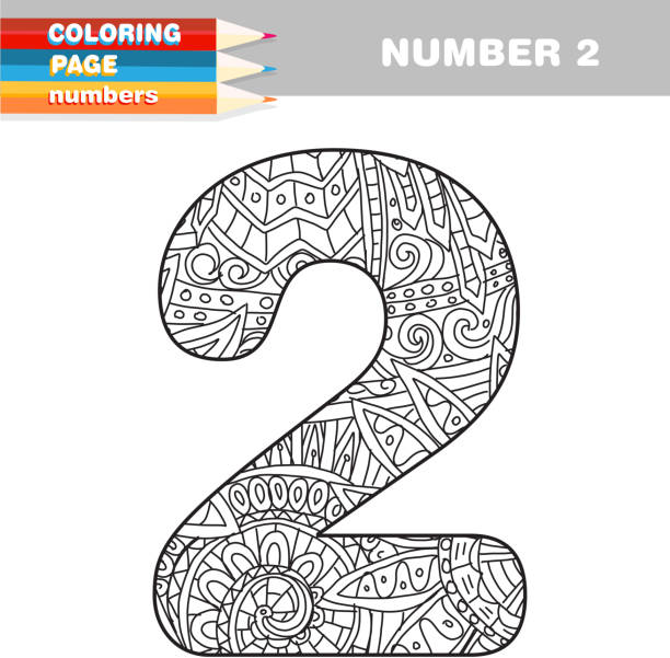 Adult Coloring Book Numbers Hand Drawn Template Vector Art Illustration
