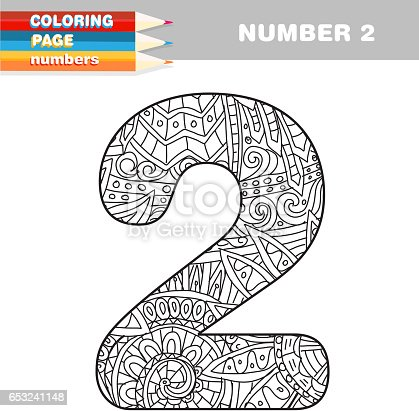 Adult Coloring Book Numbers Hand Drawn Template Stock Vector Art 653241148