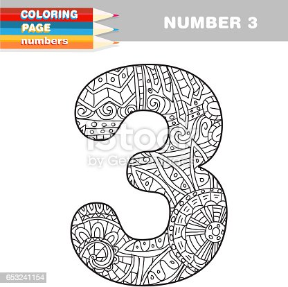 Adult Coloring Book Numbers Hand Drawn Template Stock Vector Art 653241154