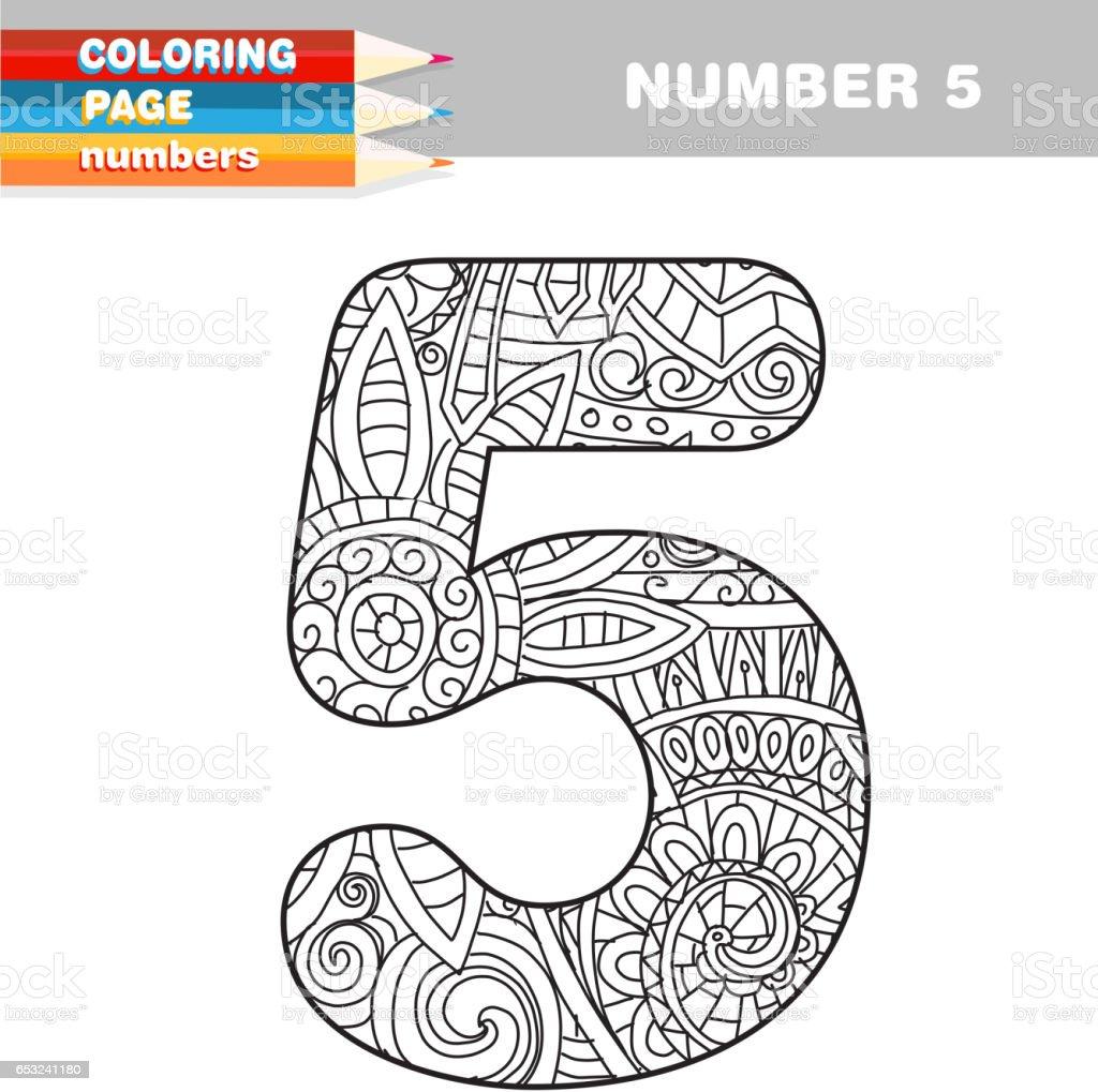 Yetişkin Renklendirme Kitap Numaraları çizilmiş şablonu El Stok
