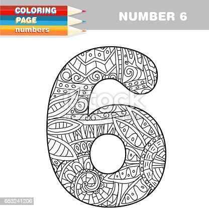 Adult Coloring Book Numbers Hand Drawn Template Stock Vector Art More Images Of 653241206