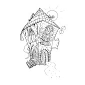 Adult coloring book page. Mono color black ink illustration, vector art. Fairy house with open door. Vector illustration
