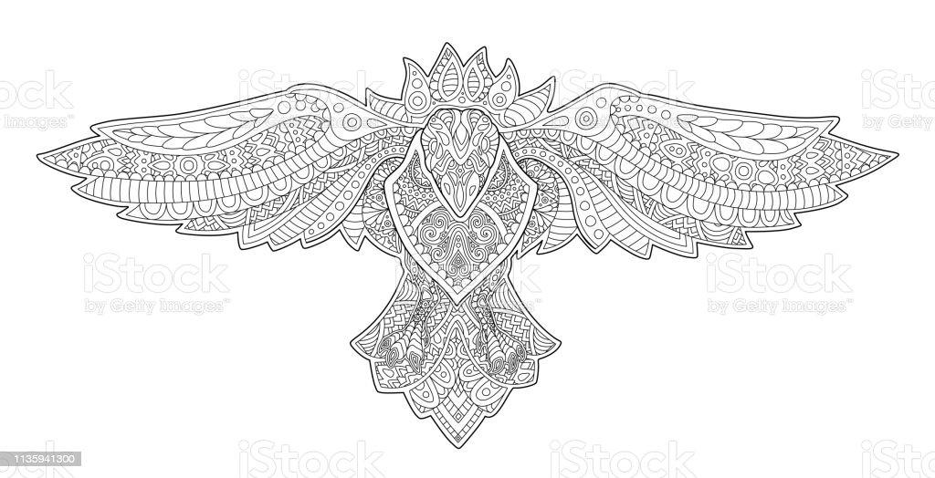 Dekoratif Karga Ile Yetiskin Boyama Kitabi Sayfasi Stok Vektor