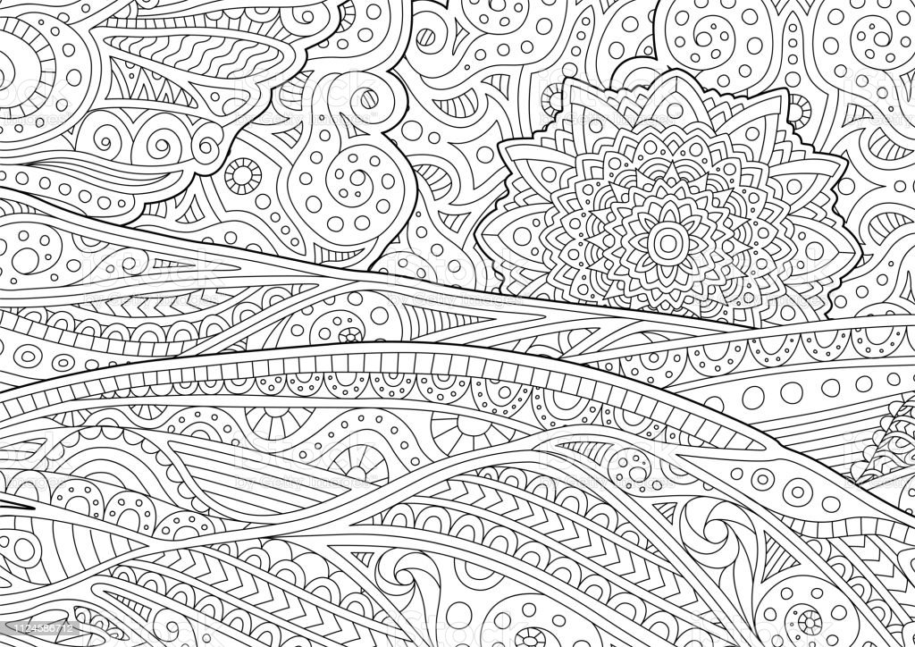 Adult Coloring Book Page With Stylized Landscape Stock Illustration -  Download Image Now - IStock