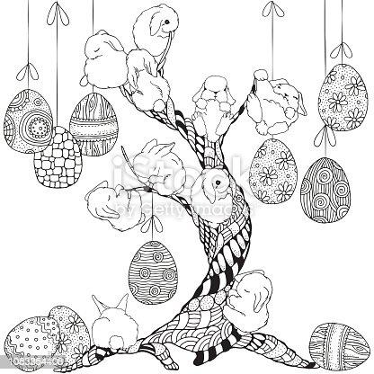 istock Mano dibuja los huevos de Pascua para colorear libro para ...