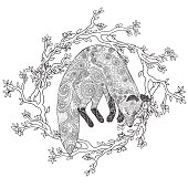 Fox hunt. Adult coloring page for antistress art therapy. Jumping fox in tracery style. Template for t-shirt, poster or cover. Vector illustration.