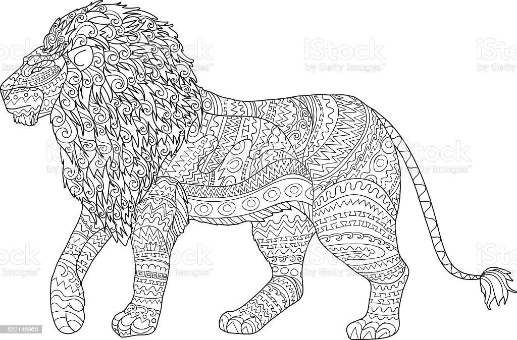 Adult Coloring Page For Antistress With Lion Stock Illustration Download Image Now Istock Use these transparent lion outline including transparent png clip art, cartoon, icon, logo, silhouette, watercolors, outlines, etc. https www istockphoto com vector adult coloring page for antistress with lion gm522146966 91547919