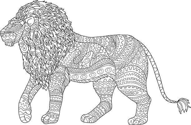 ausmalbild löwe  illustrationen und vektorgrafiken  istock