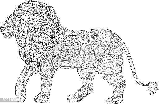 Adult Coloring Page For Antistress With Lion Stock Vector
