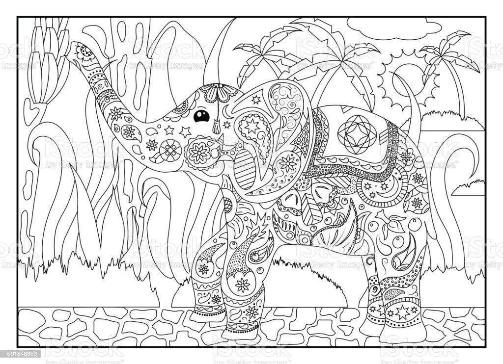 Olifant Kleurplaten Zoeken.Volwassen Kleurplaat Met Olifant Stockvectorkunst En Meer