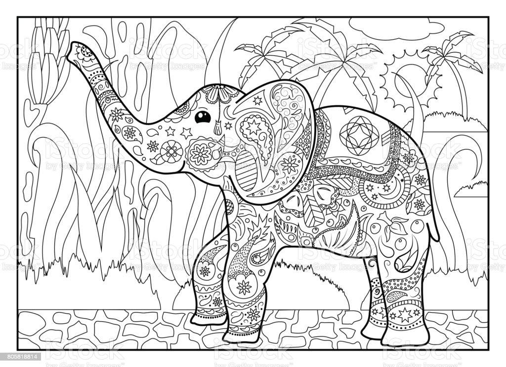 Erwachsene Malvorlagen Mit Elefanten Stock Vektor Art Und Mehr