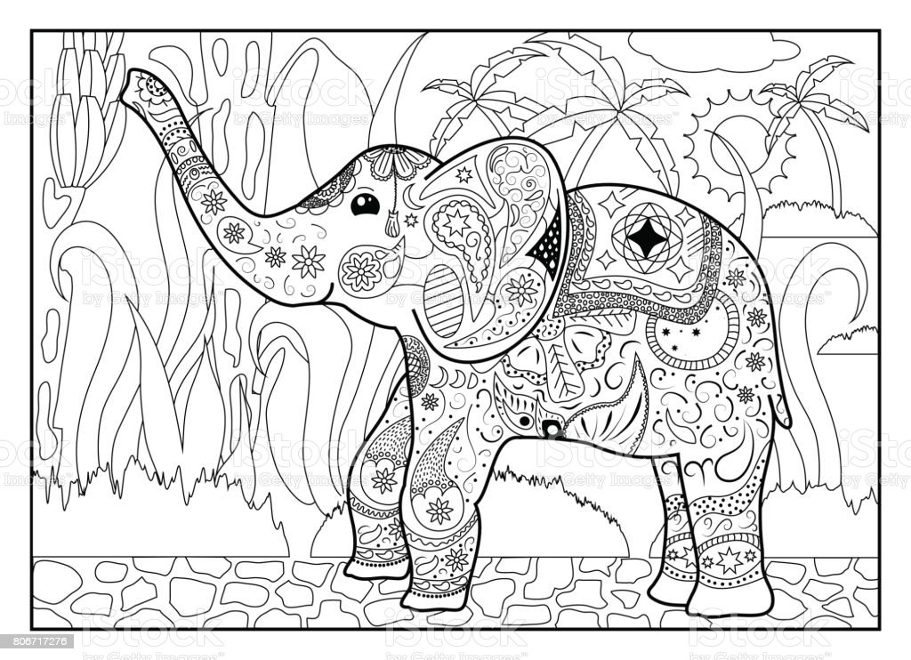 Erwachsene Malvorlagen Mit Elefanten Stock Vektor Art Und