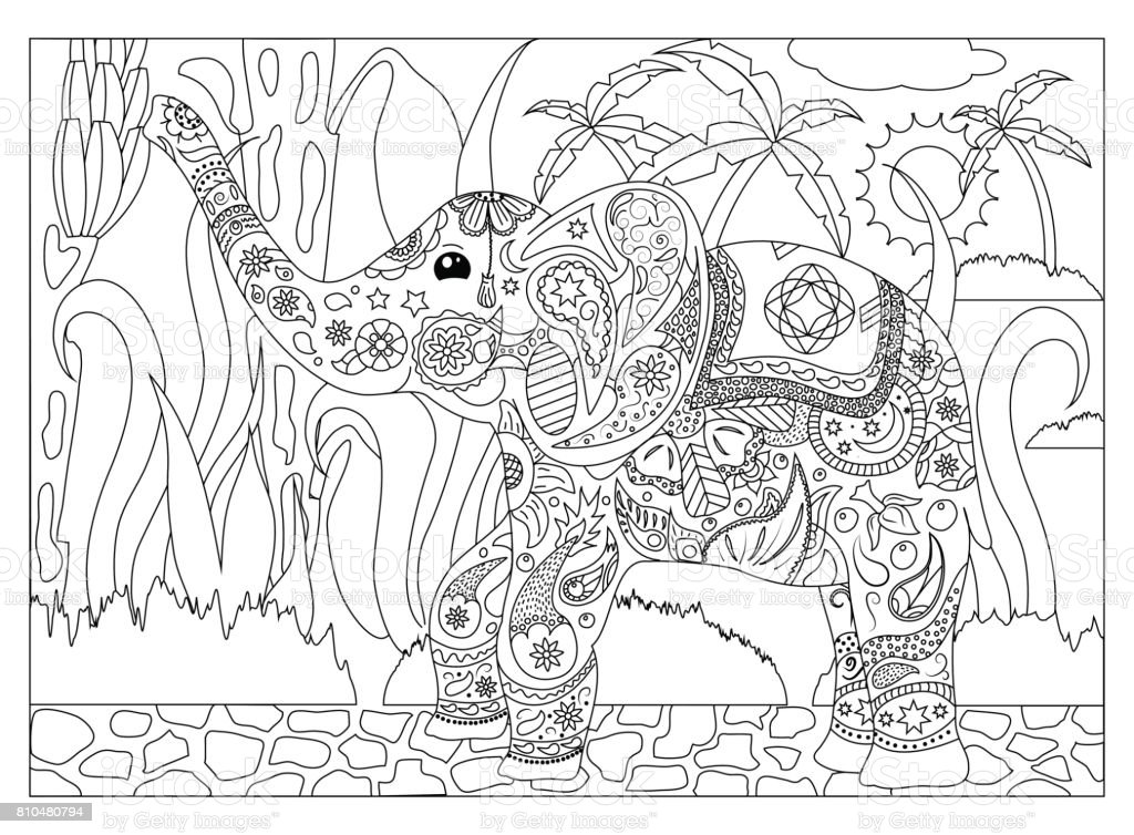 Adult Coloring Page With Elephant Stock Illustration Download Image Now Istock