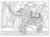 Coloring page elephant in jungle, adult coloring page with elephant, tropical coloring page for adults, mandala style coloring page for adults, hand-drawn coloring page for adults, coloring page image