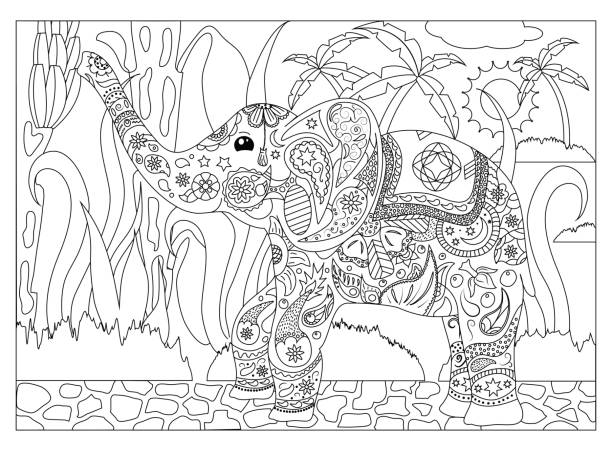 Adult coloring page with elephant vector art illustration
