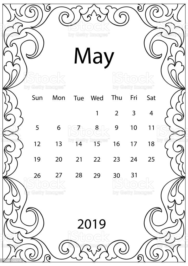 Ilustración De Página Para Colorear Adultos Con Calendario