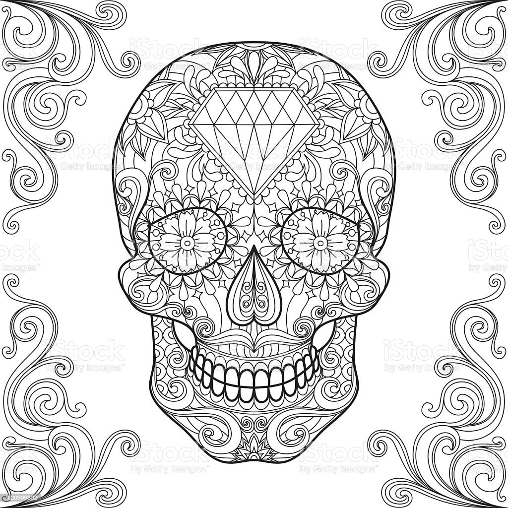 Adult Coloring Sugar Skull 1 Stock Illustration Download Image Now Istock