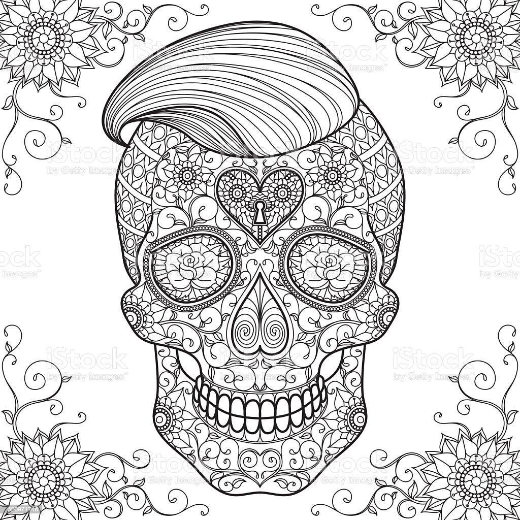 Adult Coloring Sugar Skull 2 Stock Illustration Download