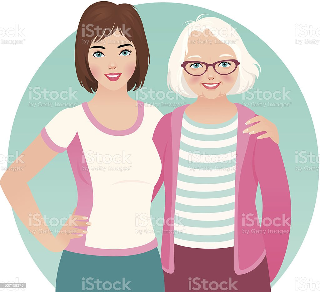 Adult daughter and elderly mother vector art illustration