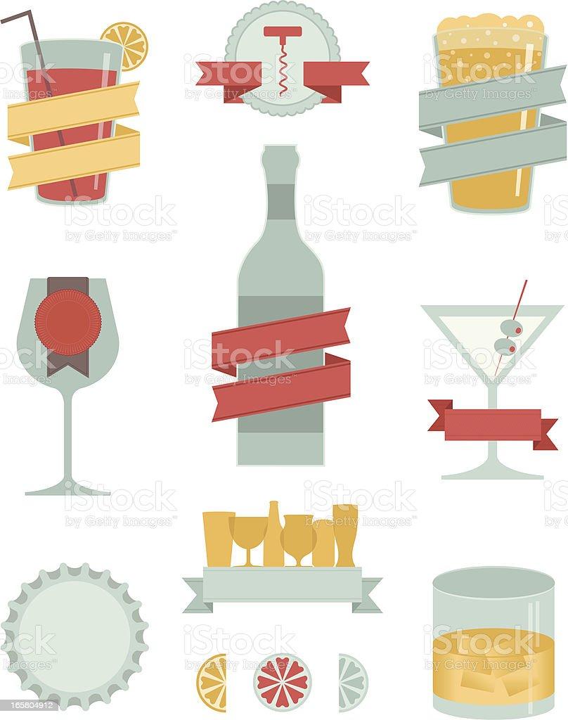 Adult Drinks Design Elements royalty-free stock vector art