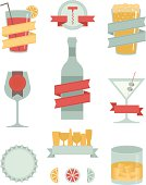 A collection of adult beverage related banners, design elements and badges. Includes a JPG and EPS of each separate item.