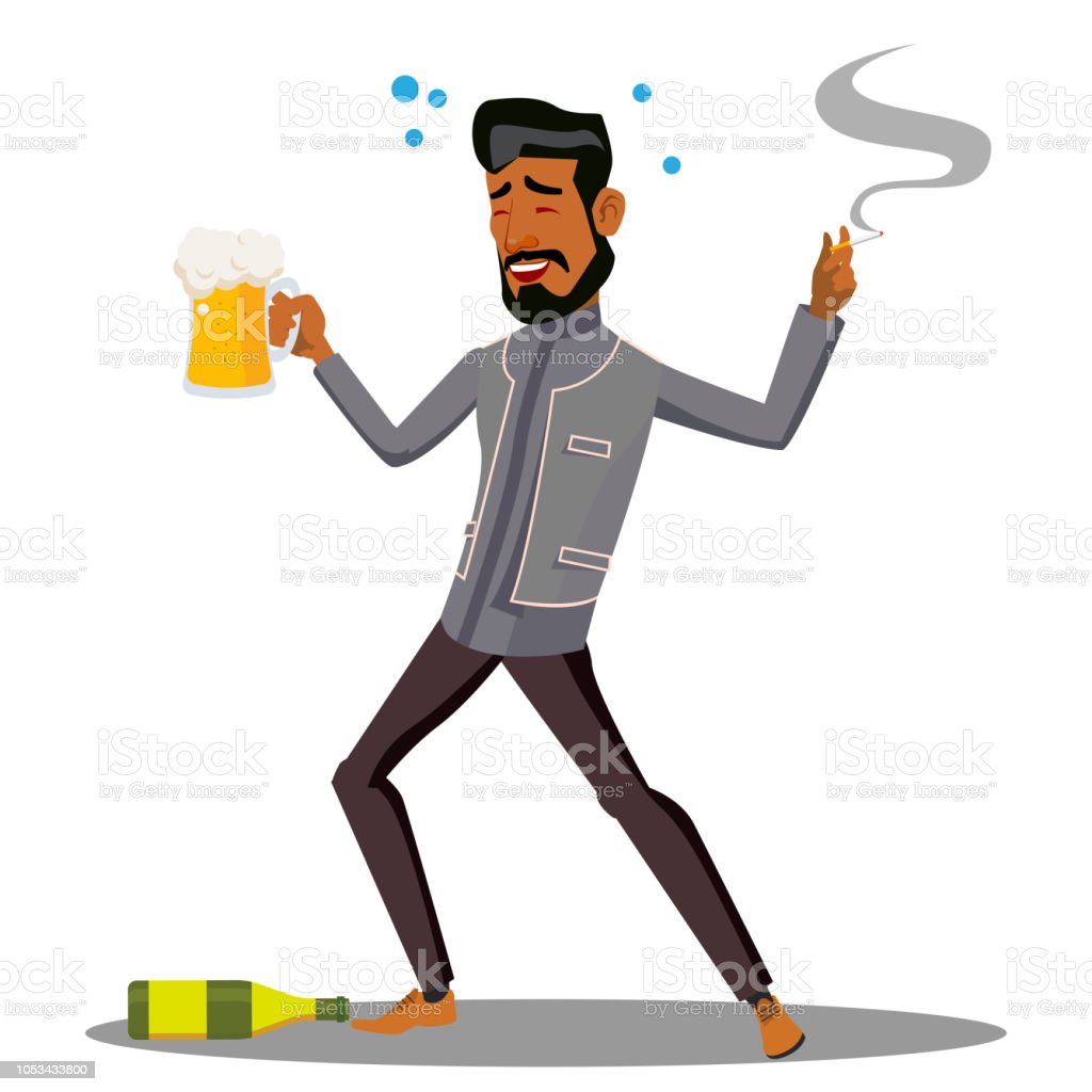 Adult Drunk Man With Glass Of Beer And Cigar Vector Isolated