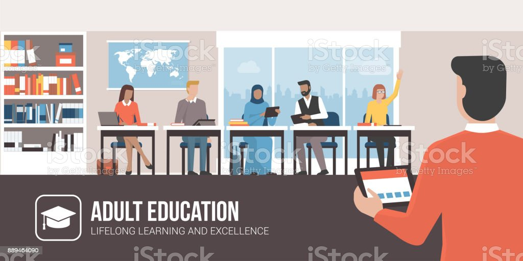 Adult education vector art illustration