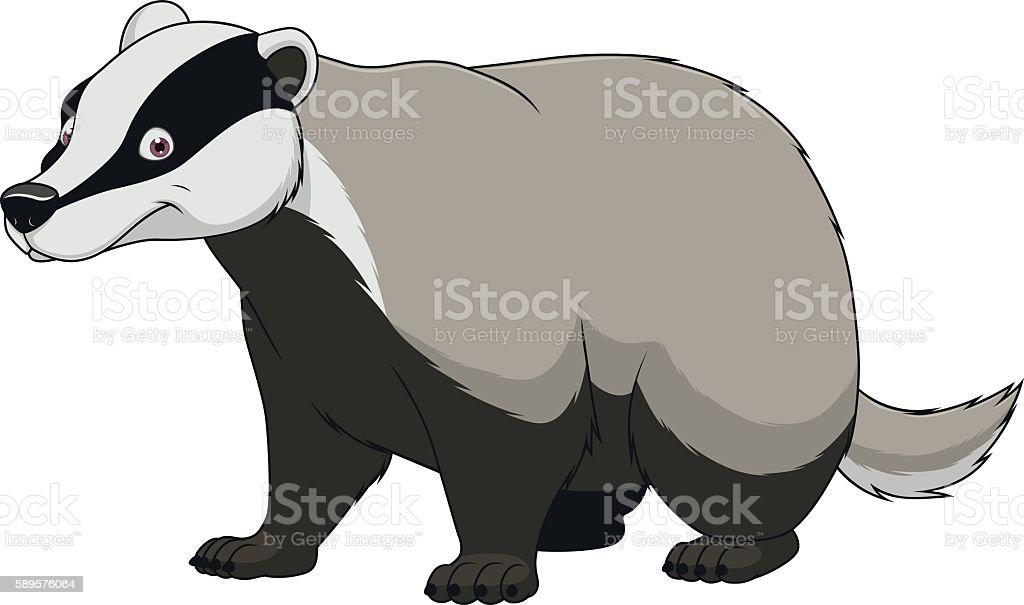 Adult funny badger vector art illustration