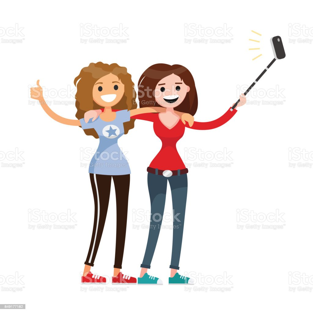 Adult girls, women, two best friends students. Friendship vector concept, teenager. Happy sisters having good time together with smile cartoon flat style for print and web design, postcards vector art illustration